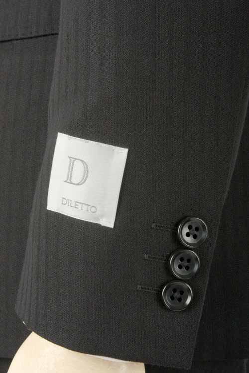 オールシーズンスーツ DILETTO 2つボタンモードスリム 通年対応 高機能素材 アウトラスト 生地使用 Outlast ブラックストライプ