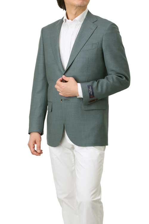 エルメネジルド ゼニア Ermenegildo Zegna 生地使用 ジャケット メンズ ビジネス カジュアル 春夏 2つボタン グリーン 無地系