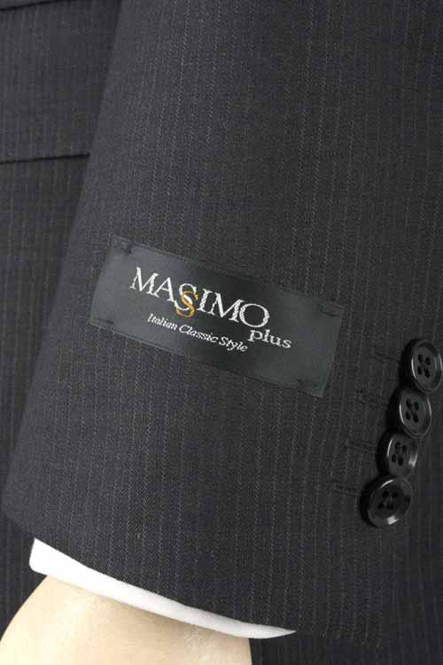 オールシーズンスーツ MASSIMO PLUS 2つボタン ベーシックスリム  通年対応 高機能素材 アウトラスト 生地使用 Outlast グレーストライプ