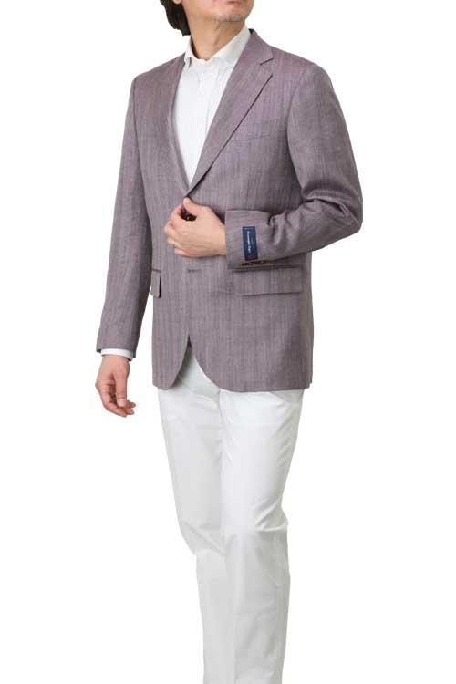 エルメネジルド ゼニア Ermenegildo Zegna 生地使用 ジャケット メンズ ビジネス カジュアル 春夏 2つボタン パープル ヘリンボーン柄