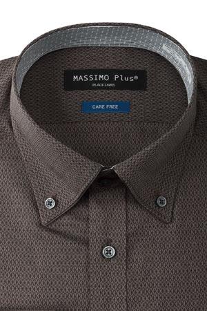 長袖ワイシャツ 形態安定 ストレッチ ベーシック パイピング ボタンダウン ブラウン ジオメトリック
