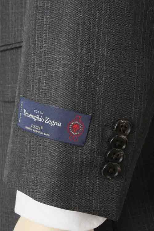 Ermenegildo Zegna エルメネジルド ゼニア 社製生地 ELECTA使用 秋冬 ダークグレー チェック 2つ釦スリムスーツ