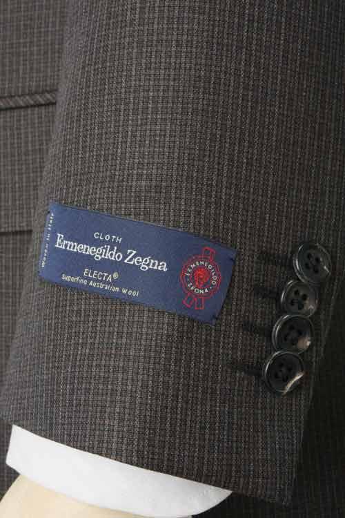 Ermenegildo Zegna エルメネジルド ゼニア 社製生地 ELECTA使用 秋冬 ダークブラウン ミニチェック 2つ釦ベーシックスーツ