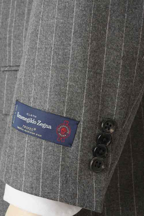 Ermenegildo Zegna エルメネジルド ゼニア 社製生地 TROFEO使用 秋冬 グレー ペンシルストライプ 2つ釦ベーシックスーツ