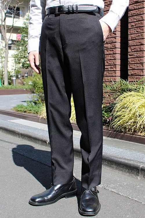 スラックス メンズ スリム 裾上げ済み ウォッシャブル ストライプ ノータック