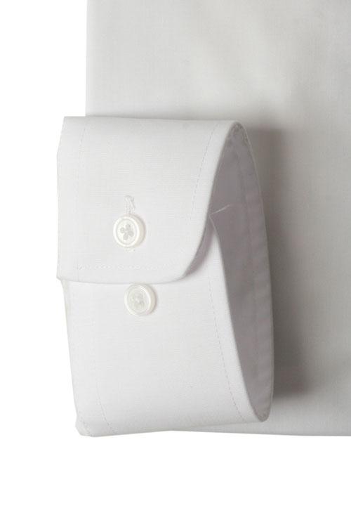 長袖ワイシャツ YUKIKOHANAI HOMME レギュラーカラー 白無地 綿50% ポリエステル50% 形態安定