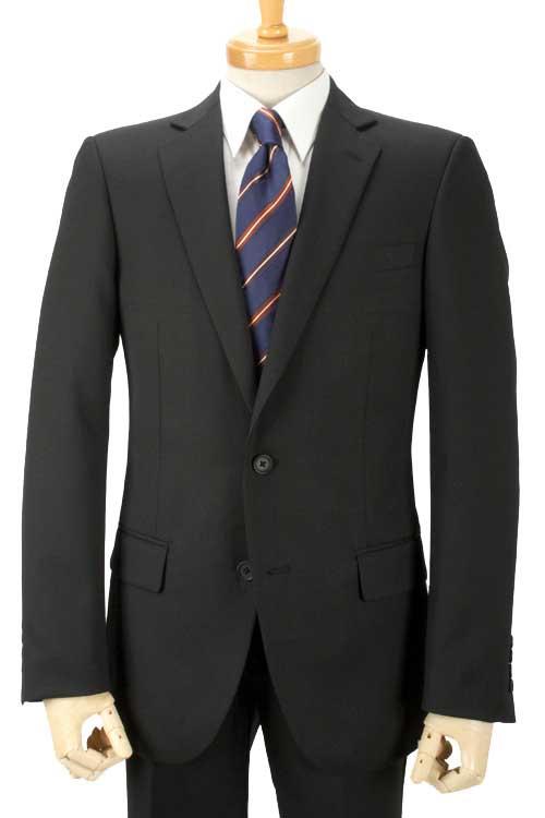 オールシーズンスーツ 就活にお勧め 黒無地 2つボタン スリムスーツ パンツウォッシャブル 背抜き仕立て