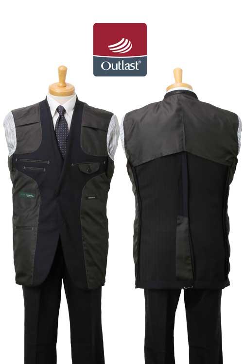 アウトラスト 生地使用 秋冬 ネービー ドビー ストライプ 2つボタン シングル ベーシック スーツ