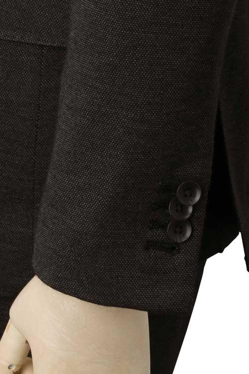 ニット素材 スラックスウエスト紐仕様 チャコール バーズアイ 秋冬 2つボタンモードスリムスーツ DILETTO IZM