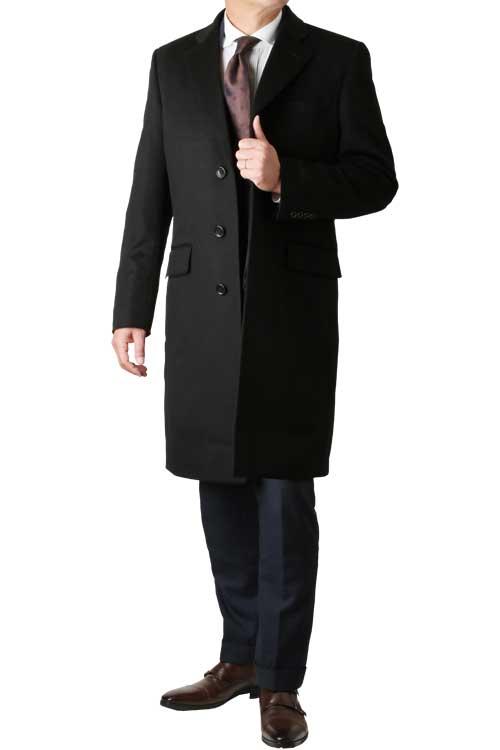 カシミヤコート メンズ  Ermenegildo Zegna ゼニア カシミヤ100% チェスター コート 日本製 秋冬 ブラック