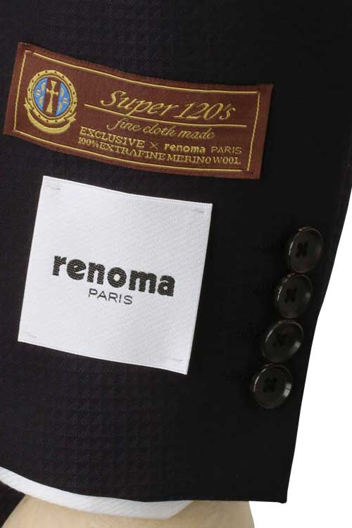 renoma PARIS レノマ パリス 秋冬 ネイビー ミニチェック 2つ釦ベーシックスーツ