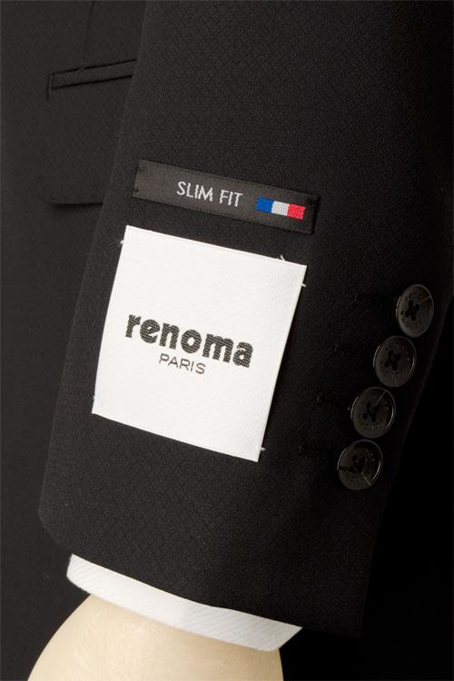 renoma PARIS レノマ パリス 春夏 ブラック ダイヤモンドドビー ジオメトリック柄 2つ釦スリムスーツ