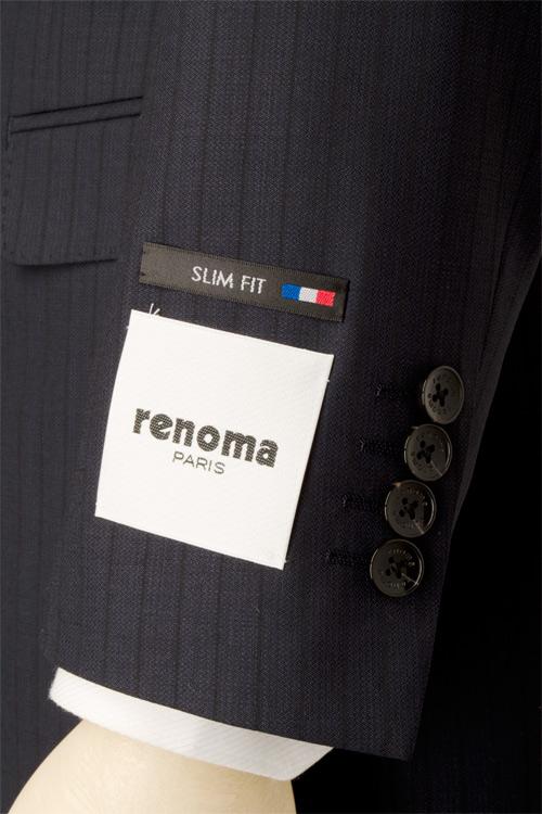 renoma PARIS レノマ パリス 春夏 ネービー シャドーストライプ 2つ釦スリムスーツ