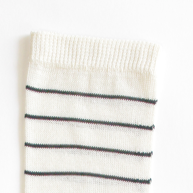 シルク5本指ボーダーソックス ホワイト×ブラック(シルク100%)