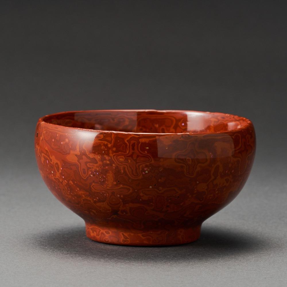 芯漆堆朱ぐい呑(山崖松堂)Sake Cup made by Lump of Lacquer(Shoudou Yamagishi)