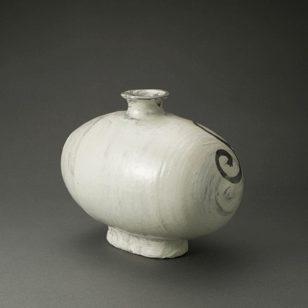 絵刷毛目俵壷(鈴木大弓)Hakeme Pot(Hiroyumi Suzuki)