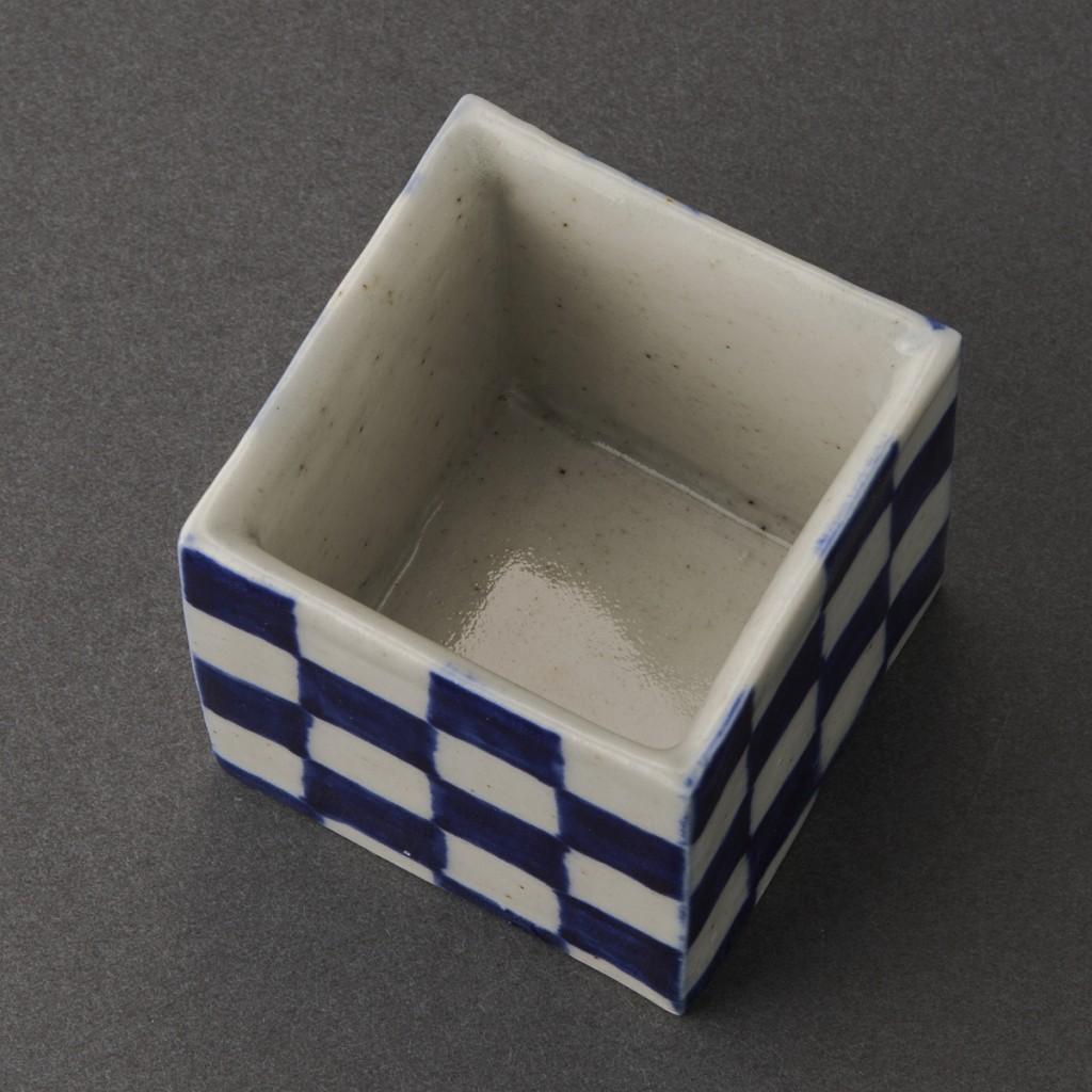 市松盃(丸田宗一廊)Blue Painting porcelain Sake Cup(Soichiro Maruta)