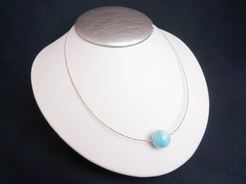 【天然石専用18Kネックレス】ラリマーのネックレス,人間関係の改善に!