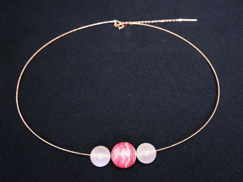 【天然石専用18Kネックレス】インカローズとムーンストーンのネックレス