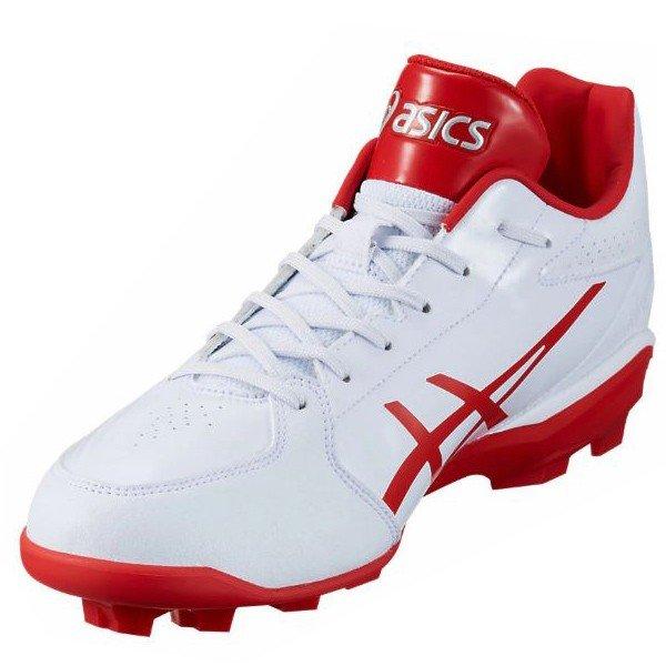 アシックス asics スターシャイン 2 1121A012-101 野球 ポイントスパイク 試合用 ポイントスパイク 練習用 ホワイト×レッド 白×赤