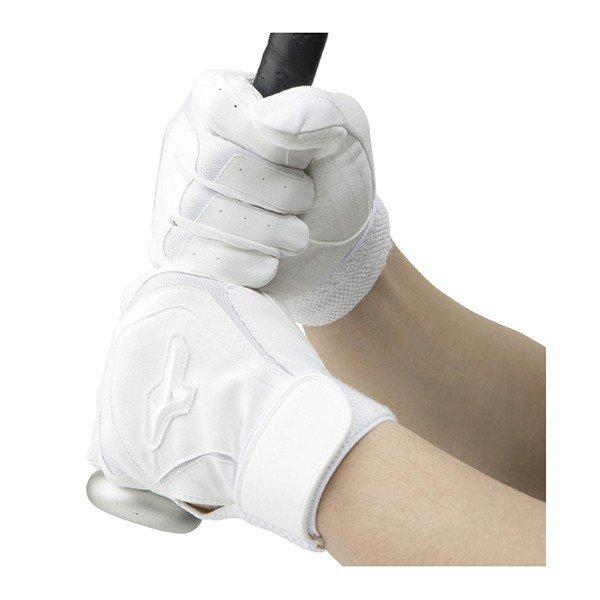 ミズノ mizuno デュラパーム 高校野球ルール対応モデル 1EJEH150 野球 バッティング手袋 両手用 バッテ ホワイト