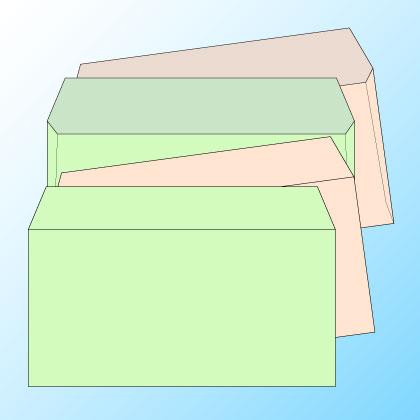 洋長3透けないパステルカラー100/黒1色印刷/〒枠なし・カマス貼り/1000枚