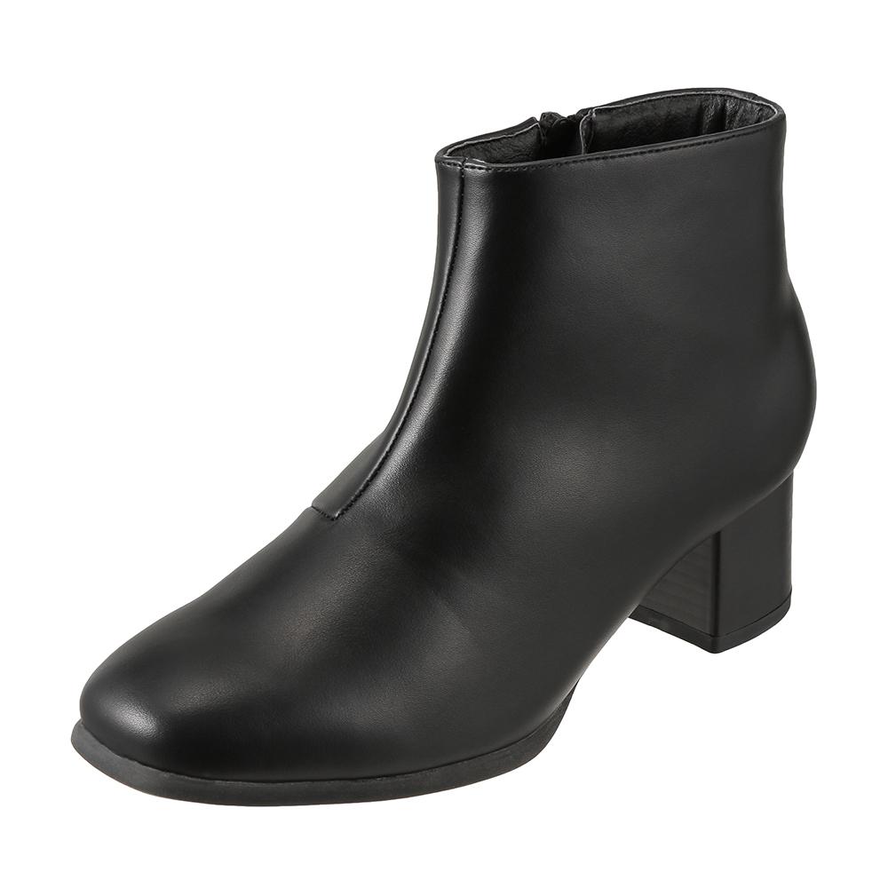 [フワラク] fuwaraku FR-1501 レディース | ショートブーツ レインブーツ 防水 | ヒール ローヒール 歩きやすい | 立ち仕事 通勤 仕事 シンプル サイドファスナー | 履きやすい 大きいサイズ対応 | ブラック