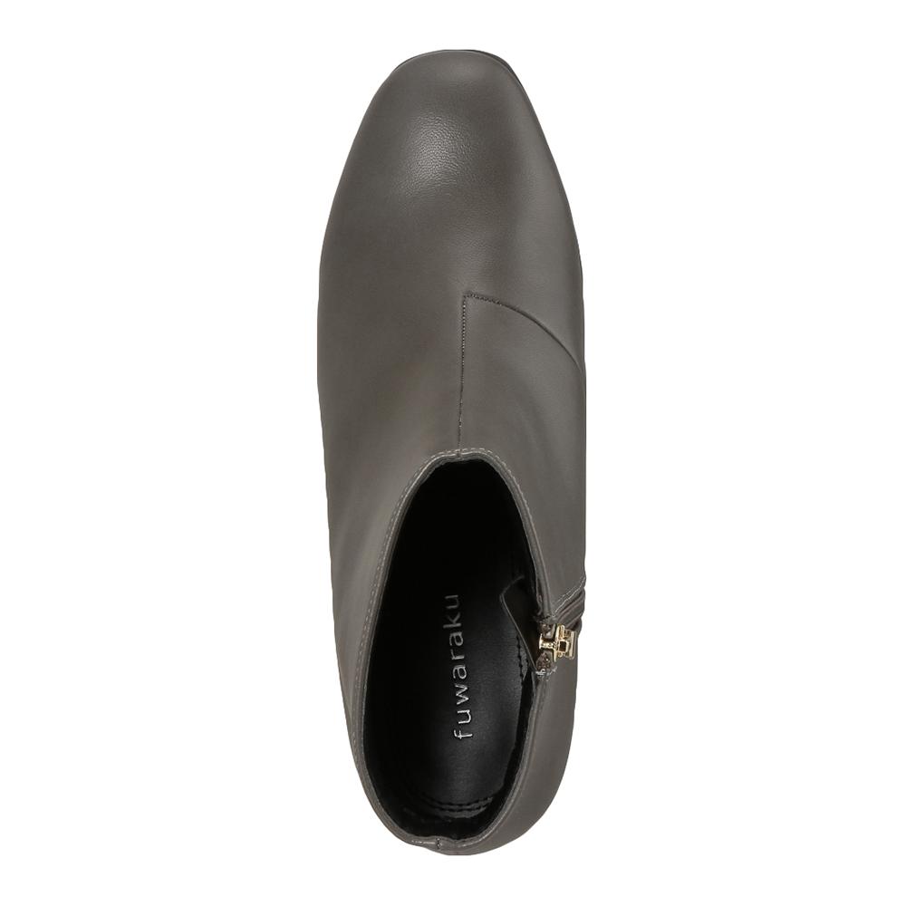 [フワラク] fuwaraku FR-1501 レディース | ショートブーツ レインブーツ 防水 | ヒール ローヒール 歩きやすい | 立ち仕事 通勤 仕事 シンプル サイドファスナー | 履きやすい 大きいサイズ対応 | グレー