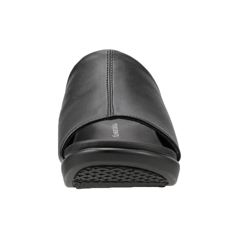 [フワラク] fuwaraku FR-3002 レディース | オフィスサンダル ウェッジソールサンダル | ミュール サボ 履きやすい 歩きやすい | 仕事 屋内履き オフィス クッション性 | 大きいサイズ対応 | ブラック