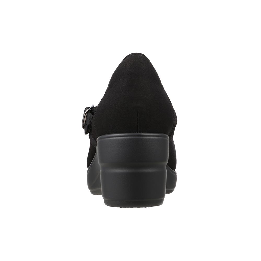 [フワラク] fuwaraku FR-4001 レディース | コンフォート パンプス ストラップ 防水 | 抗菌 防臭 ウェッジソール 幅広 ワイド設計 | オフィス 仕事 立ち仕事 カジュアル | 大きいサイズ対応 | ブラックサテン