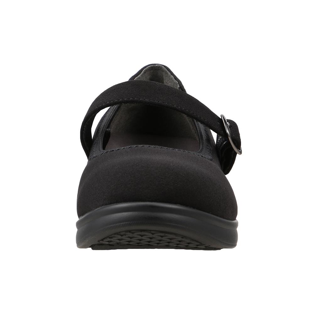 [フワラク] fuwaraku FR-4002 レディース | コンフォート パンプス ストラップ 防水 | 抗菌 防臭 ウェッジソール 幅広 ワイド設計 | オフィス 仕事 立ち仕事 カジュアル | 大きいサイズ対応 | ブラックサテン