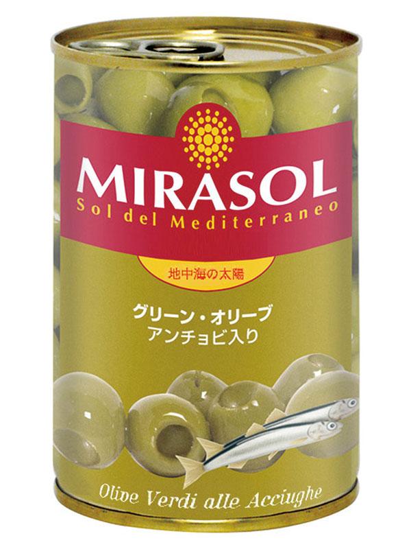 【常温】ミラソル) グリーンオリーブ(アンチョビ入り) 300G (日欧商事株式会社/農産ビン詰)