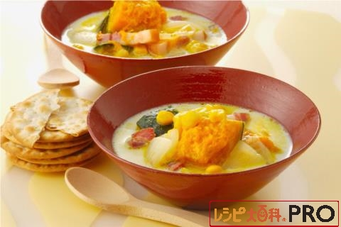 【常温・冷凍】レシピ/かぼちゃとベーコンのミルクスープ