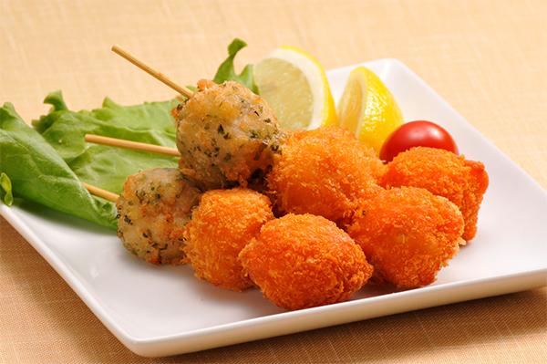 【冷凍】海鮮団子串(たこ・えび・いか) 45G 10食入 (ケーオー産業/和風調理品/魚介練物)