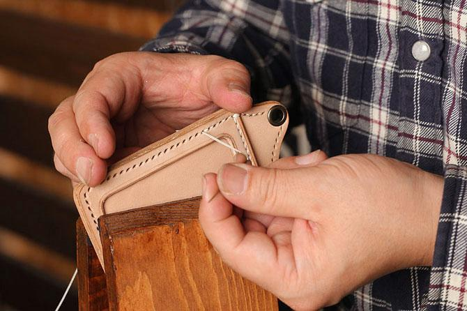 手縫い ヌメ革 IDケース サドルレザー 栃木レザー