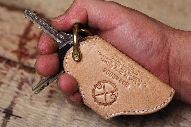 ヌメ革 キーケース メンズ カバータイプ 手縫い 栃木レザー 手作り オーダーメイド