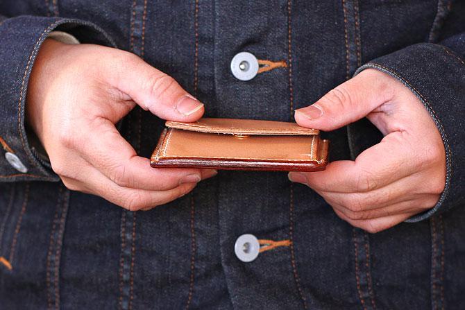 ヌメ革 ミニ財布 メンズ 手縫い 栃木レザー カードとお札が入る小銭入れ