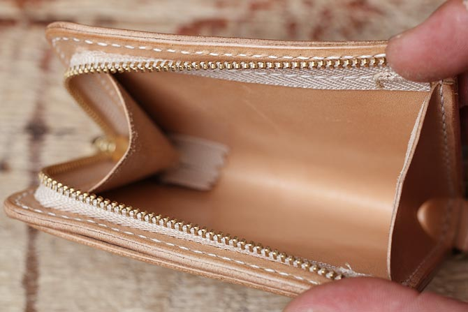 手縫い ヌメ革 パスケース 小銭入れ付き サドルレザー 栃木レザー オーダーメイド