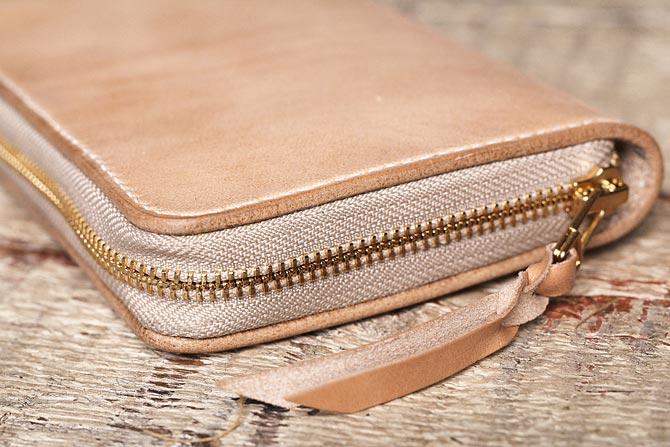 手縫いのラウンドジッパー長財布 ヌメ革 メンズ 栃木レザー ハンドメイド 日本製
