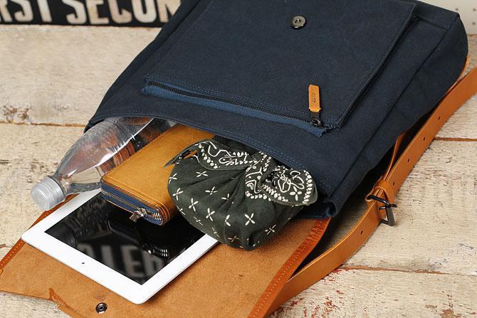 メンズ リュックサック 6号帆布×オイルバケッタ革 バギーポート tepp 460 ネイビー×キャメルバージョン