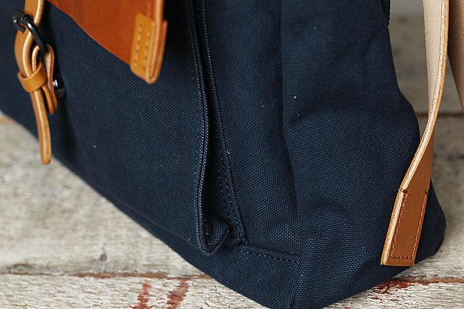メンズ リュックサック 6号帆布×オイルバケッタ革 バギーポート tepp 461 A4 ネイビー×キャメルバージョン