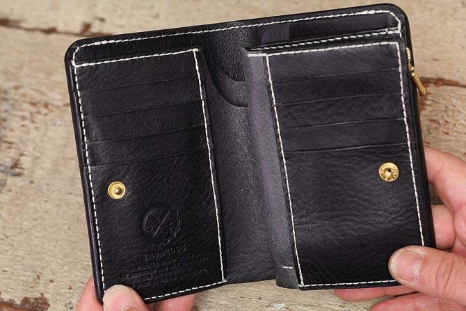 NEW YORK ブラックレザー ミドル財布 手縫い ミドルウォレット M.P.G. cuoificio社 ファスナー小銭入れタイプ