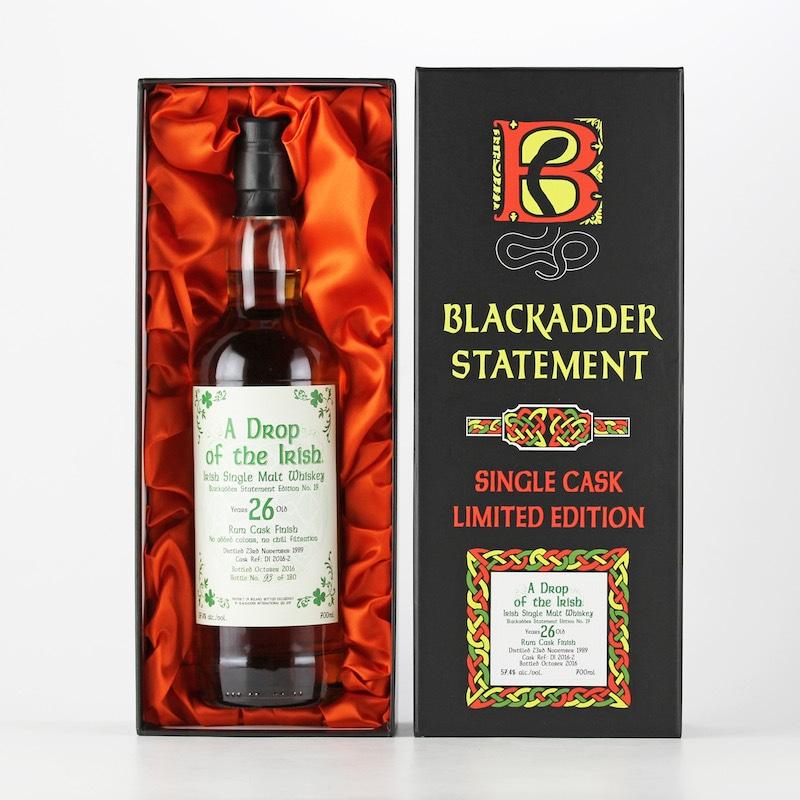 BLACKADDER STATEMENT NO.19 A DROP OF THE IRISH 1989 26yo RUM CASK FINISH Cask ref:DI2016-2 57.4%