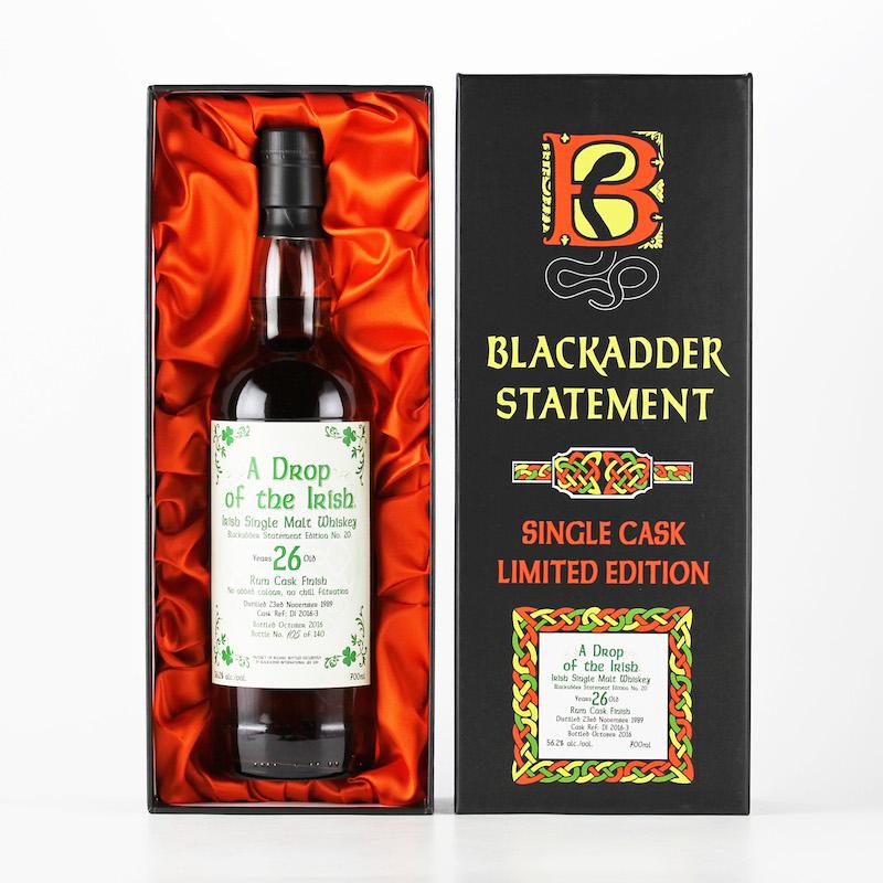 BLACKADDER STATEMENT NO.20 A DROP OF THE IRISH 1989 26yo RUM CASK FINISH Cask ref:DI2016-3 56.2%