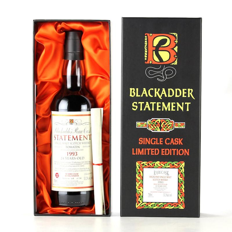BLACKADDER STATEMENT NO.30 RAW CASK TOMATIN 1993 24YO SHERRY CASK FINISH Cask ref:9727 53.2%