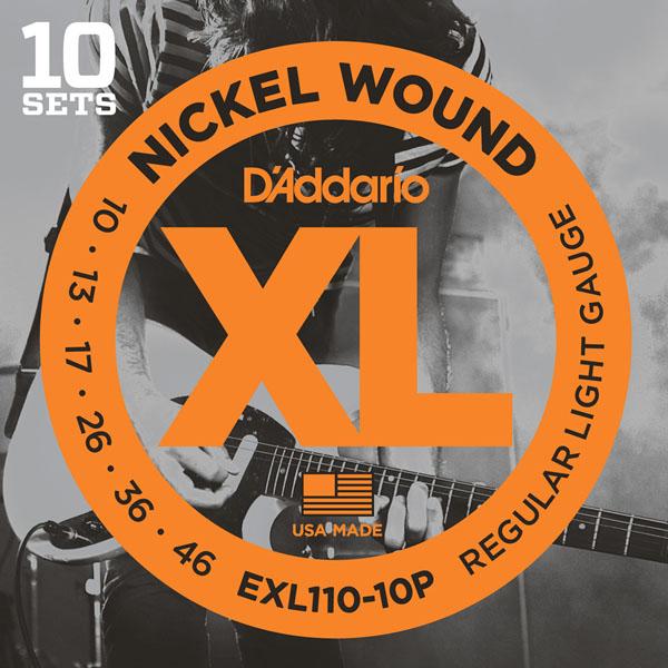 【10個セット】D'addario/エレキ弦 EXL110-10P,EXL115-10P,EXL120-10P,EXL125-10P(10セット入りパック)【ダダリオ】