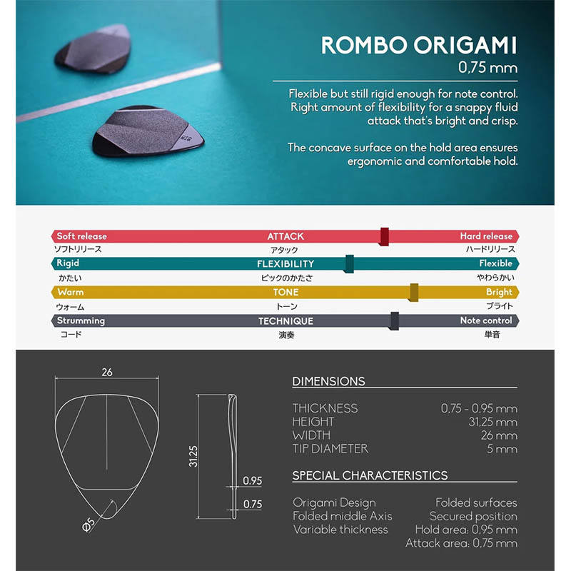 Rombo Origami Pick Set 0,75 mm (4 picks)ピック【ロンボ】
