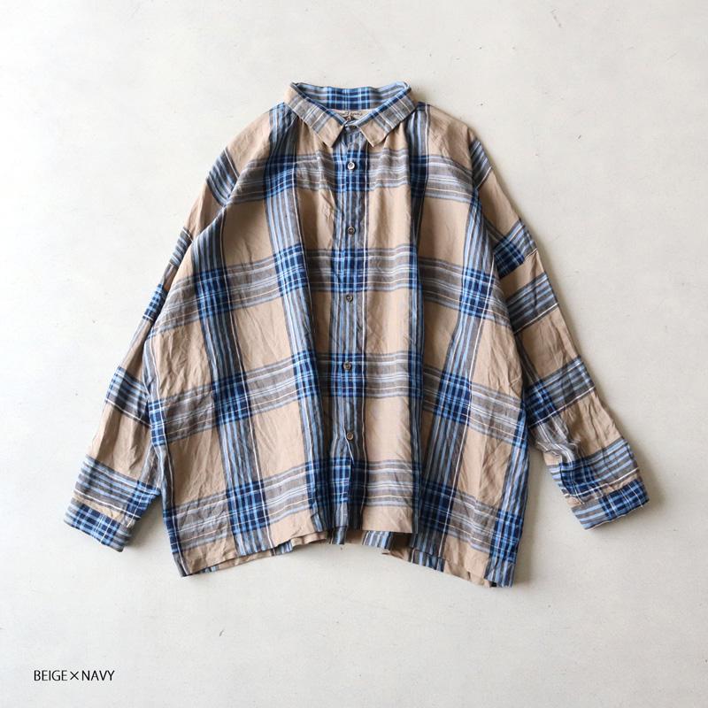 ICHI Antiquites イチアンティークス リネンタータンチェックシャツ 700308
