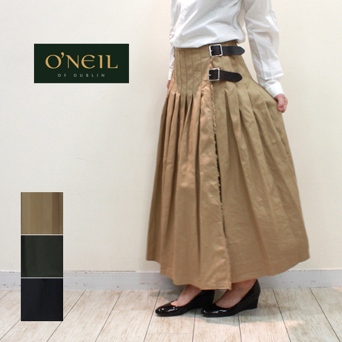O'NEIL OF DUBLIN オニールオブダブリン チノクロスローウエストプリーツ巻きスカート (LOW WAIST PLEATS WRAP SKIRT WITH PIN) NOD1702