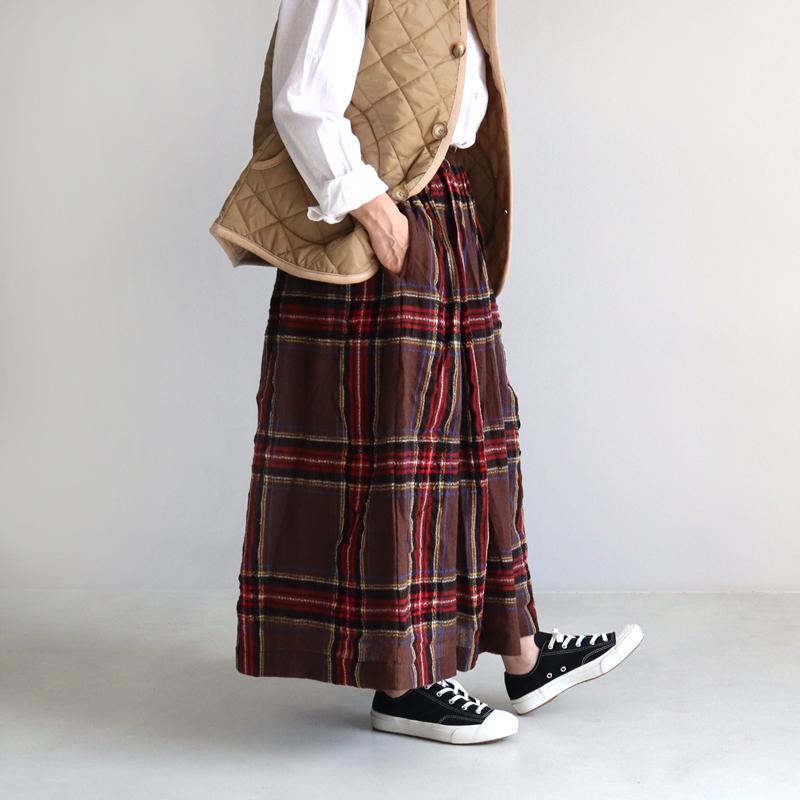 ICHI Antiquites イチアンティークス ウールガーゼタータンスカート 700324